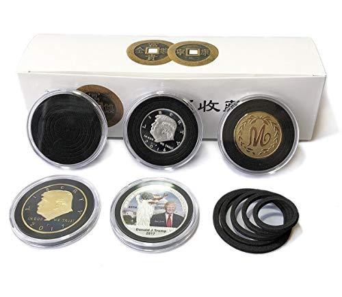 20 Einheiten Kunststoff-Münzhalter-Kapseln Behälter mit schwarzer Schaumdichtung Münzen Aufbewahrungskoffer-Vitrinen (NO.3) - 20 Einheiten