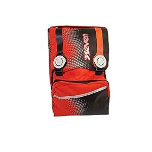 41XkbRPdy0L. SS300  - Seven - Mochila Escolar Extensible, Color Negro y Naranja, 38 x 27 x 26 cm