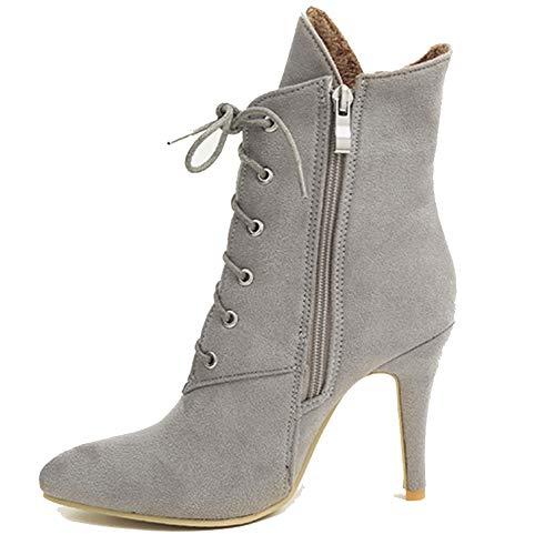 helstiefel spitz Zehenlässige Schuhe Spitze Pumps Winter High Heels Kurze Plüschthin Fersen Stiefel ()