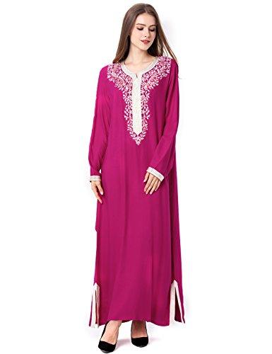 Musulmán islámica abaya / jalabiya kaftan caftán dubai maxi vestido largo para las mujeres ropa vestido de rayón 1631