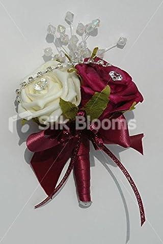 Superbe Bordeaux et rose double Ivoire Mariage Boutonnière