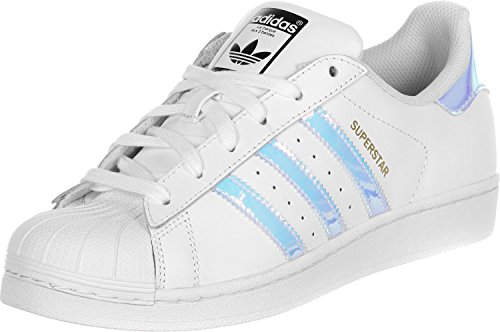 adidas Originals Superstar J Sneaker AQ6278 White/Silver Gr. 35,5 (UK 3,0)  (Jungen Kinder Adidas Schuhe)