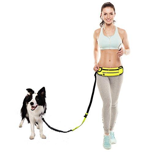 leine hundeleine schwarz hundeverstellbar-premium führleine Joggingleine für große & mittlere Hunde+Neopren-Bauchgurt bis 50 kg,Ideal zum Freihändigen Joggen,Spazieren und Wandern,Elastische Bungee-Leine Reflektierende Nähte