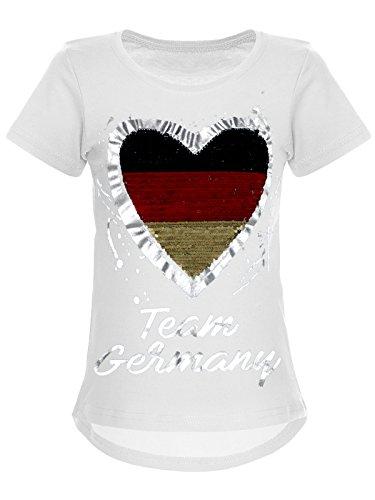 BEZLIT Deutschland Mädchen Wende-Pailletten WM 2018 Fan Fussball T Shirt 22512, Farbe:Weiß, Größe:116