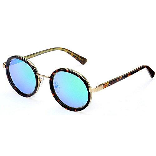 Yiph-Sunglass Sonnenbrillen Mode Damen Sonnenbrille Persönlichkeit Kleine Runde Polarisierte Acetat Faser Blume Rahmen TAC Objektiv UV Schutz Fahren Urlaub Strand Sonnenbrille (Farbe : Blau)