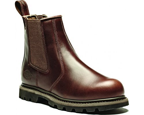 Safety Dealer Boot Dickies Fife in pelle, con punta in acciaio uomo FD9214 da lavoro Brown