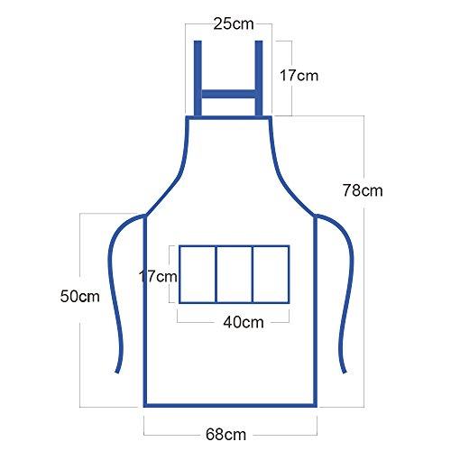 Imagen de aoner kit de 2 unisex delantal mandil original de peto de chef de cocina + gorro cocinero para hombre mujer negro talla única alternativa