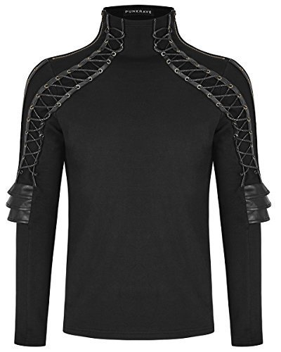 Punk Rave Mens Dieselpunk Armour Top Black Faux Leather Gothic Steampunk Shirt steampunk buy now online
