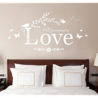 All You Need is Love, Vinyl Wall Art Sticker Decal Mural, Bedroom, Lounge, 80cm width x 40cm high (White)