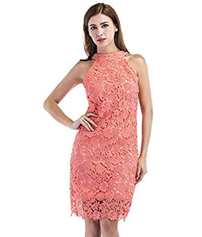 Women Pencil Dresses White Lace Cold Shoulder Midi Bodycon Ladies Evening Party Dresses Bridesmaid Wedding Floral Dresses Sleeveless(Watermelon Red,L)