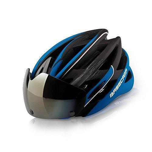 BaseCamp Fahrradhelm mit Abnehmbaren Schutzbrille Visier (blau)