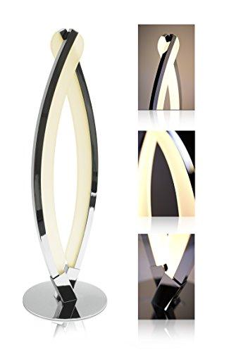 """LED Universum LED Tischlampe\""""Jonas\"""" - Tischleuchte mit modernem Design - warmweißes Licht (3000K), 8W, Chrom glänzend/Spiegelglanz - ideal als Wohnzimmerlampe, Nachttischlampe und Schreibtischlampe"""