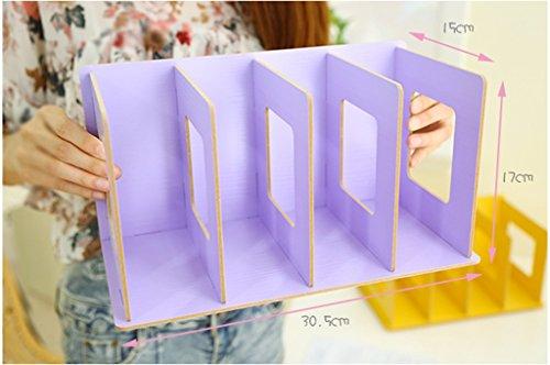 Creative Woody DIY Caja de almacenamiento de escritorio Libro Stand 30,5 * 15 * 17 Cm Oficina Negro ( Color : Purple )
