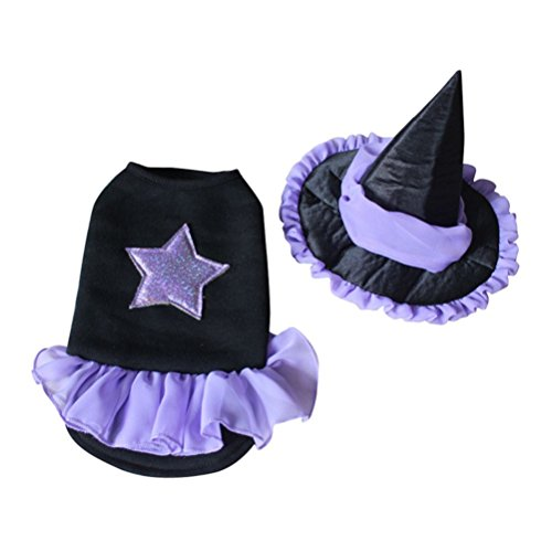 alkyoneus Pet Hund Halloween Wizard Suit Kostüm Kleid Puppy Katze & Hut Apparel (Hot Dog Kostüm Men's)