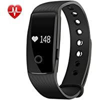 Fitness Tracker Heart Rate and Sleep Monitor, Activity Pedometer with Steps Tracking, Calorie Burned, Distance Traveled, Route Painted, Wristwatch with Running Mode, Call, Text and SNS Notifications