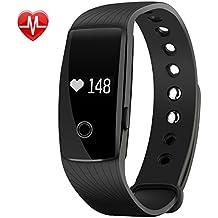 Mpow Heart Rate Monitor Smart pulsera de actividad Fitness Tracker pulsera Podómetro Sleep Tracker pantalla táctil impermeable Smartwatch para Android y iOS Teléfonos Inteligentes como iPhone 7/7Plus/6S/6/6Plus/5/5S/Se, Huawei Mate 7/P9, LG, Sony, Negro
