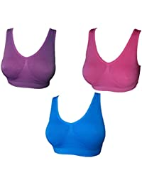 074edc355e923 UtopyaUK 3 Pack Comfort Bra Women Girls Crop Top Seamless Sleep in Yoga  Bralette Leisure Stretch Sports Vest Wide Straps White Black…