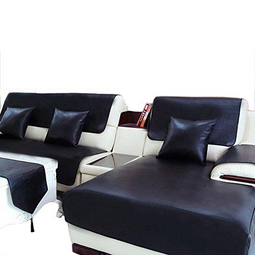 L&zr copridivano imbottito 100% impermeabile antiscivolo in pelle cuscino per divano - nero,90 * 90cm