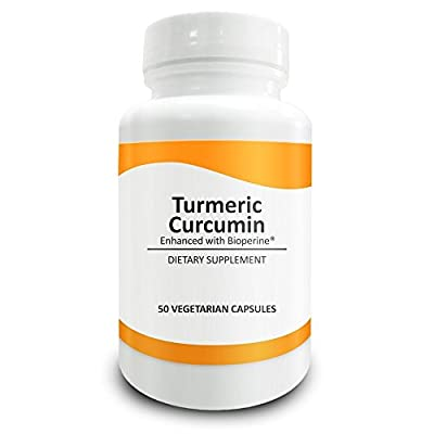 Pure Science Turmeric Curcumin Root Powder 700mg with 95% Curcuminoids (50mg) and BioPerine (Black Pepper Extract) - High Quality Supplement - 50 Vegetarian Capsules - Natural Alternative to Tablets