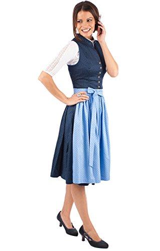 MarJo Midi Dirndl Helene 2tlg. 60cm Blau Hellblau, 40 - 4