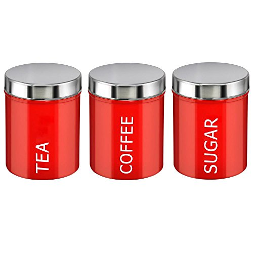 Beyondfashion Black/Red Set Of 3 Tea Coffee U0026 Sugar Canisters Enamel Kitchen  Storage Containers Jars (Red)