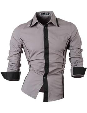 Jeansian Hombre Camisas Moda Manga Larga Men Fashion Slim Fit Casual Long Sleeves Shirts Z010