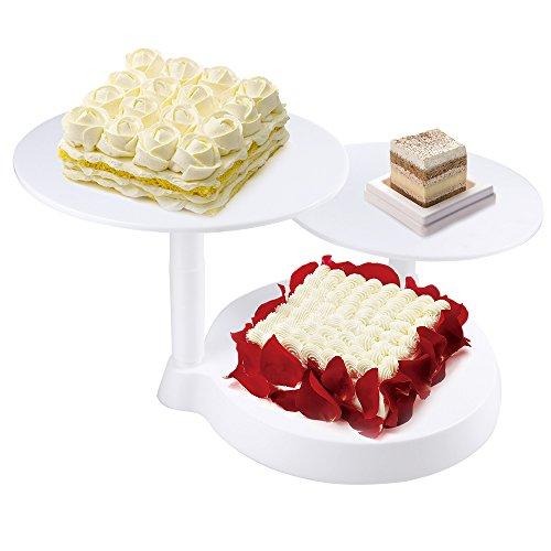 himaly Présentoir à Gâteaux Biscuit Fruit 3 Étages en Plastique Plateau Tournante Décoration et Présentation pour Gâteau de Mariage/Anniversaire Blanc