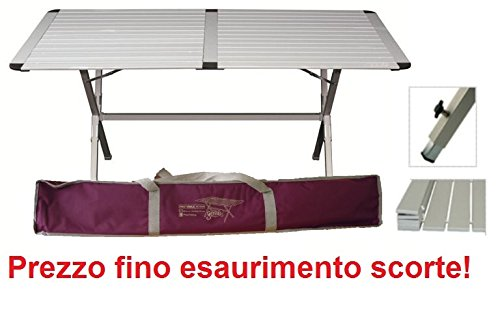 TAVOLO TAPPARELLA PER CAMPEGGIO MODELLO GENIUS 150x80 CM CON SACCA PER IL TRASPORTO IDEALE FINO A 6 PERSONE