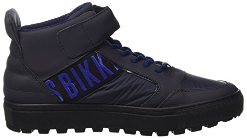 BIKKEMBERGS Herren Track-Er 766 Mid Shoe M Leather/Fabric High-Top Blau