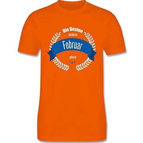 Geburtstag - Die Besten werden im Februar geboren - Herren Premium T-Shirt Orange