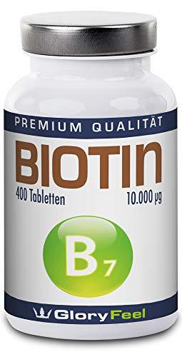 Biotin Haar-Vitamin Hochdosiert 10.000 mcg 400 vegane Tabletten - Der VERGLEICHSSIEGER 2018* - 13 Monate Biotin Voll-Versorgung für Haare, Haut und Fingernägel - Deutsche Markenqualität von GloryFeel