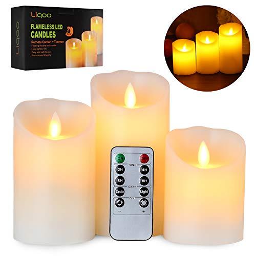 Candele led liqoo set di 3 candele a led senza fiamma in vera cela con telecomando e timer luce decorativa alimentazione dalle 3 pile aaa decorazioni per natale feste matrimonio compleanno