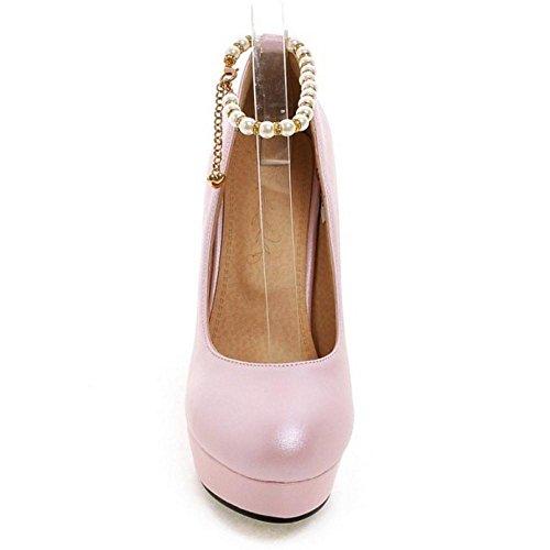 TAOFFEN Femmes Bride Cheville Escarpins Pink-64