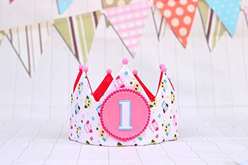 ddce37171 Corona de tela cumpleaños niña regalo 1 cumpleaños bebé adorno de ...