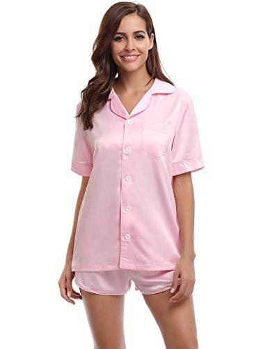 Aibrou Damen Pyjama Set Kurz Nachtwäsche Set Sommer Schlafanzug Satin Zweiteiliger V-Ausschnitt Rosa XL (Hosen Seide Satin)