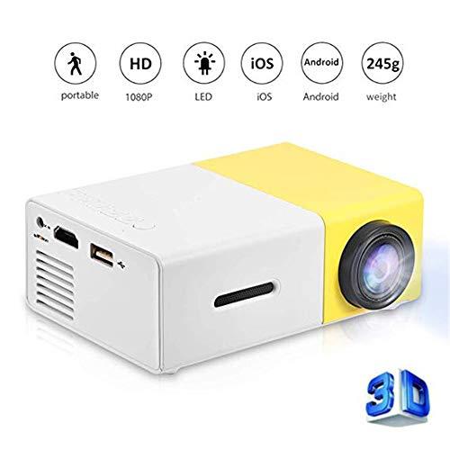 (Genmaisima Tragbarer Mini-Vollfarb-LED-Projektor für Kindergeschenk, Videofilm, Party Game, Unterhaltung im Freien mit HDMI-USB-AV-Schnittstellen und Fernbedienung,Yellow)