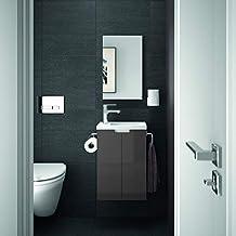 allibert badmobel gaste wc set vormontiert weiss anthrazit grau glanz waschtisch