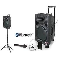 Ibiza Sound PORT12VHF-BT + Soporte de Altavoz - Megafonía portátil, 12 pulgadas