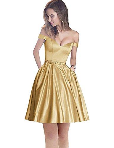 Stillluxury Damen A-Linie Kleid Gr. 44, Gold Short