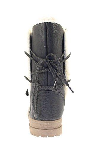 Schneeboots Damen gefüttert Farbe Schwarz zum Schnüren Schwarz