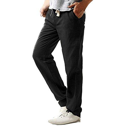 TEBAISE Herren Leinenhose Sommerhose Lange Stoffhose in Leinen-Optik aus 100% Baumwolle Regular Fit丨Men Casual Strandhosen Leinen Hose (Schwarz,3XL) - Ann Weites Bein