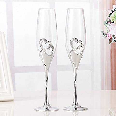 1 Set (2pcs) Creative High Quality Wine Glasses with Base Colored Enamel Kristiall Diamond Studded Heart Romantic Couple Wedding Set of 2 Champagne Glasses Romantic Gift Home