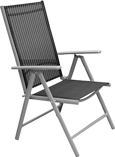 Lot de 2 Consul Garden ProfiLine Delphi Fauteuil Noir Chaise pliante en aluminium Meubles de jardin chaise de jardin