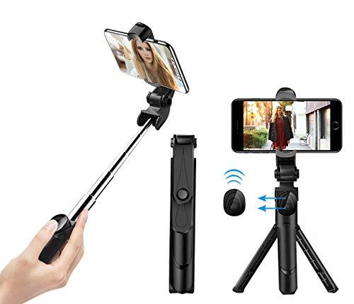 Selfie stick treppiede con scatto remoto bluetooth selfie aste ausfahr bar rotazione di 360°