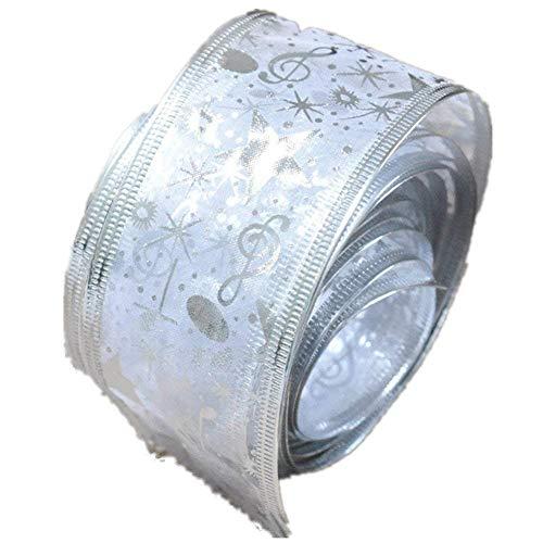 scrox Árbol de Navidad/boda/fiesta decoración impresión flores cinta de encaje cintas para día de Navidad boda fiesta 200x 6.3cm, poliéster, Blanco, 5cm*2meter