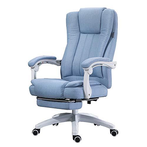 Blue Mühelos Baumwolle (LJFYXZ Design Bürostuhl 150 ° neigbares Design Doppelter Rücksitz Natürliche Baumwolle und Leinen Chef Stuhl Mit Fußstütze Hubhöhe 117-127cm (Color : Blue))
