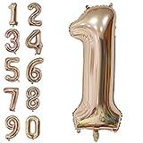 Amooy DiZi Large Numéro Ballon Géant Décoration Fête Ballon Chiffre d'Anniversaire Or Rose 40 Pouces 100 cm (Numéro 1, Or Rose)