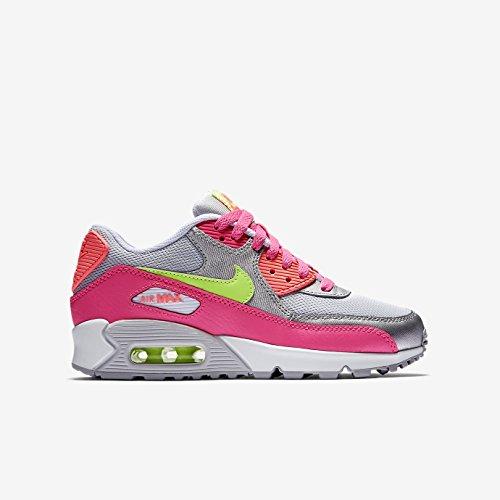 Nike NIKE AIR MAX 90 MESH (GS) Damen Sneakers pure platinum-liquid lime-metallic silver-pink