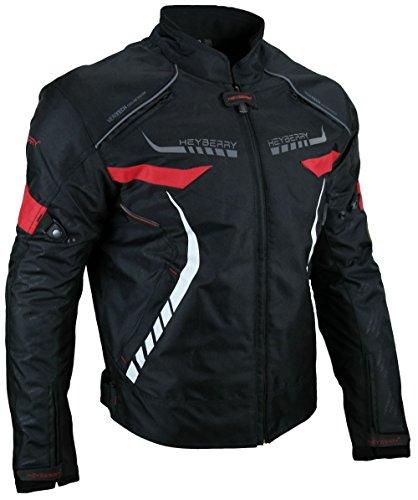 Textil Motorrad Jacke Motorradjacke Heyberry Schwarz/Rot Gr. XL (Rot Motorrad-jacke)