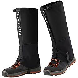 SPAHER Polainas Impermeable al Aire Libre y Polainas Prueba de Viento Guardia de Protección para Las Piernas Senderismo Esquí Escalada Negro